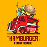 Food Truck Hamburger Burger Fast Delivery Service Vector Logo Stock Photo