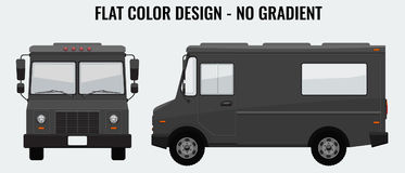 Food Truck Hi-detailed with solid and flat color design template for Mock Up Brand Identity. Front and side view. Stock Image