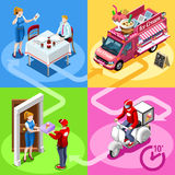 Food Truck Ice Cream Cart Home Delivery Vector Isometric People Stock Images