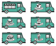 Food truck icon designs. Collection of six food trucks Stock Photo