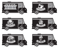 Food truck icon designs. Collection of six food trucks Royalty Free Stock Photography
