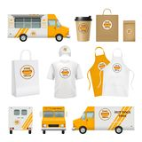 Food truck identity. Fast catering business tools for mobile restaurant delivery cards logos blank poster packages. Vector template. Illustration of branding royalty free illustration