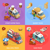 Food Truck 4 Isometric icons Square Stock Photo