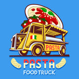 Food Truck Italian Pasta Fast Delivery Service Vector Logo Stock Photography