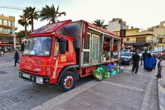 Food truck, Malta, Bugibba resort street view. February, 2016: Bugibba is a zone within St. Paul`s Bay in the Northern Region, Malta. It is situated adjacent to Stock Photos