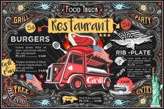 Food Truck Vector Menu and Logo. Food truck menu with logo. Hipster advertise layout. Us vector design stock illustration