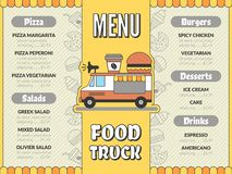 Food truck menu. Outdoor kitchen in car mobile van mexican tacos ice cream fast food drinks pizza flyer vector template
