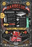 Food Truck Menu Street Food BBQ Grill Festival Vector Poster. Fast food truck festival menu American BBQ Grill brochure street food poster design. Vintage party Stock Photos