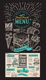 Food truck menu for street festival on chalkboard background. De. Sign template with hand-drawn graphic illustrations royalty free illustration