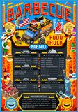 Food Truck Menu Street Food Grill BBQ Festival Vector Poster. Fast food truck festival menu American BBQ Grill brochure street food poster design. Vintage party royalty free illustration