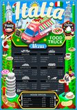 Food Truck Menu Street Food Pizza Festival Vector Poster. Fast food truck festival Italian pizza or pasta menu brochure street food poster design. Vintage party Stock Photography