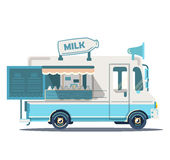 Food truck with milk illustration. Vector retro vintage food truck with milk illustration Royalty Free Stock Photo
