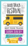 Food truck party invitation. Food menu template design. Food fly Stock Photo