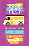 Food truck party invitation. Food menu template design. Food fly Royalty Free Stock Photos