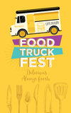 Food truck party invitation. Food menu template design. Food fly Stock Image