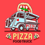 Food Truck Pizza Fast Delivery Service Vector Logo Royalty Free Stock Photo