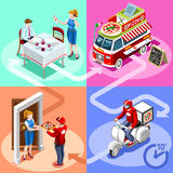 Food Truck Pizza Fast Home Delivery Vector Isometric People Stock Images