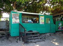 Food Truck selling food and drinks on Coki Beach in St. Thomas, US Virgin Islands royalty free stock photo