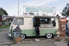 Food truck that sells frozen yoghurt Royalty Free Stock Images