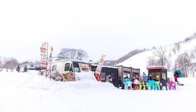 Food truck in snow area of Niseko Stock Photos