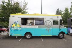 Food Truck. A food truck specialising in Tacos waits for customers at the Farmers Market in Cherry Creek, Denver, Colorado, USA in July 2014 Stock Photo
