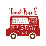 Food Truck Street Cafe Food Festival Promo Sign, Colorful Vector Design Template With Vehicle Silhouette. Fast Food Restaurant On Wheels Event Label Flat Stock Photos