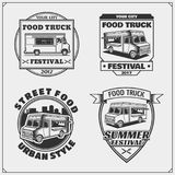 Food truck street festival emblems, badges, logos and design elements. Vector Royalty Free Stock Photos