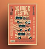 Food Truck Street Food Festival Poster Flyer Template. Vintage styled vector illustration. Food Truck Street Food Festival Poster Flyer Template. Vintage styled Royalty Free Stock Photography