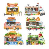 Food truck vector street food-truck vehicle and fastfood delivery transport with hotdog or pizza illustration set of man. Character selling in foodtruck royalty free illustration