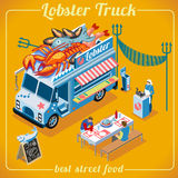 Food Truck 03 Vehicle Isometric. Fresh Lobster Food Truck. Delivery Master. Street Food Chef Web Template. NEW bright palette 3D Flat Vector Icon Set Isometric Royalty Free Stock Photography