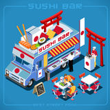 Food Truck 06 Vehicle Isometric stock photography
