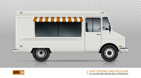 Food Truck View from right side. Food Truck Vector Template For Car Branding And Advertising.  Delivery Van On Transparent  Background. All layers and groups Stock Images