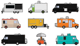 Food Trucks. Nine different Food Trucks - Food truck Industry Royalty Free Stock Images
