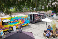 Food trucks in city square Royalty Free Stock Image