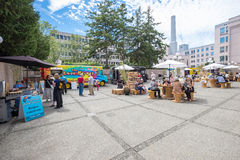 Food trucks in city square Royalty Free Stock Photos