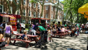 Food trucks at Governors Island in New York Stock Photo