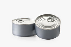Food. Two tin cans  on white background Stock Images