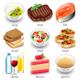 Food types icons vector set Royalty Free Stock Images