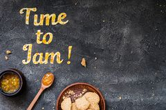 Food typography Time to Jam on dark background with copy space Stock Photography