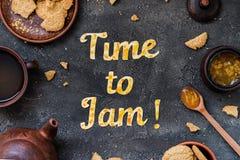 Food typography Time to Jam on dark background. Orange jam lettering Royalty Free Stock Photo
