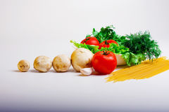 Food useful to health. Fresh vegetables juicy salad and tomato Stock Image