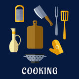 Food utensils and kitchenware flat icons Stock Image