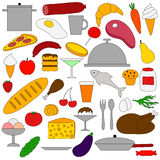 Food. And utensils. Set of flat icons on white background royalty free illustration
