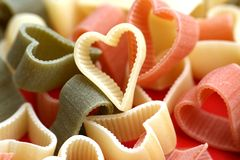Food and valentine background noddles as hearts Stock Photo