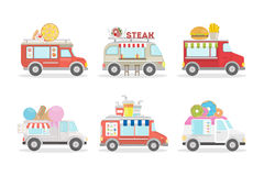 Food vans set. Food vans set on white background. Different types of van as ice cream, donut and drinks stock illustration