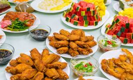 Food Variety Table top Fried chicken Fried fish roasted pork papaya salad royalty free stock images