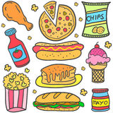 Food various element of doodles Stock Photos