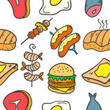 Food various style of doodles vector Stock Images