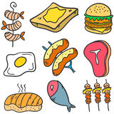 Food various style of doodles Royalty Free Stock Photos