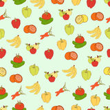 Food vector background, fruits and vegetables seamless pattern. Drawn cartoon multicolored foodstuffs, vegetarian illustration. Fo. R the design of the fabric Stock Photography